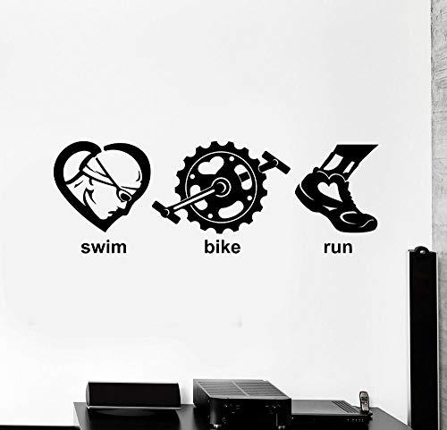 yaonuli Juegos calcomanias de Pared de Vinilo triatlon natacion Bicicleta Correr Deportes Pegatinas Decorativas 57X20cm