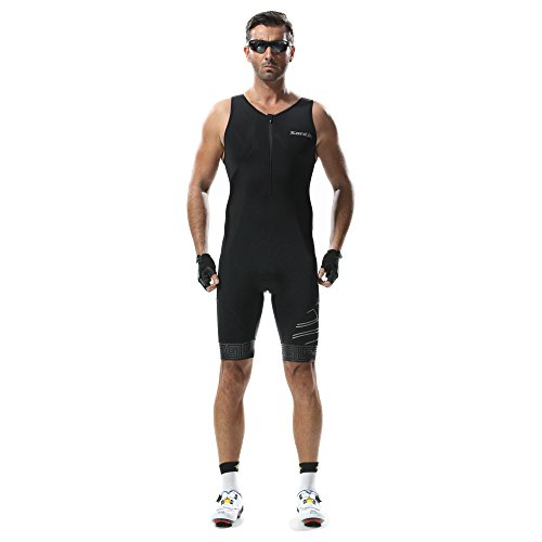 Triathlon Tri Suit Sleeveless - SANTIC Men's Skinsuit Swim Bike Run Ironman Racesuit - Piece Tri Mens Suit 2