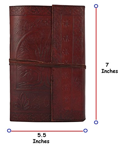 RUSTIC TOWN Handmade Vintage Antique Looking Genuine Leather Journal Diary Notebook  Tree of Life  for Men Women Gift for Him Her