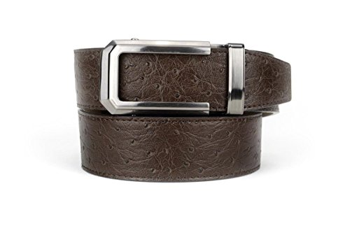 (Nexbelt Rachet System Technology - Ostrich Gunmetal Brown The Belt with No Holes, Precise Fit, Mens Classic Belt With Slide Function)