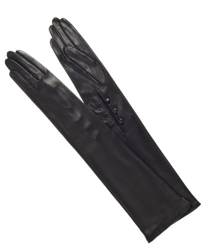 Fratelli Orsini Italian Silk Lined Italian Leather Opera Gloves - 12-Button Length Size 7 1/2 Color Black by Fratelli Orsini