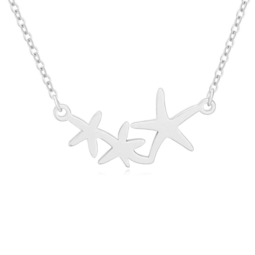 MANZHEN Triple Starfish Nautical Summer Beach Pendant Necklace (Silver)