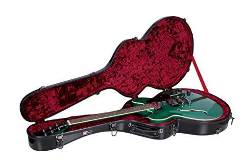 Crossrock 335 style guitar case, fiberglass hard shell with backpack, Black (CRF1000SABK)