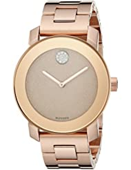 Movado Womens 3600335 Crystal-Accented Rose Gold-Tone Stainless Steel Watch