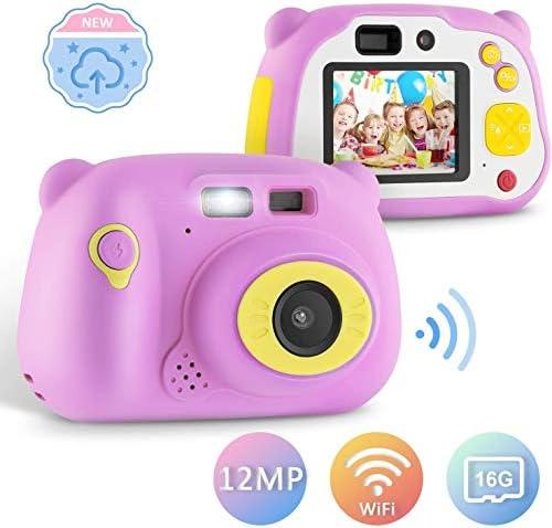 キッズ12.0 MPフロント子供のためのリアカメラのカードのWiFi共有の充電式耐震ギフト(紫)のためのキッズカメラデジタルカメラ