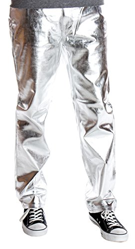 - Ragstock Men's Metallic Shiny Jeans, Silver-30