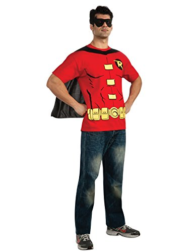 DC Comics Men's Robin T-Shirt with Cape and Mask, Red, -