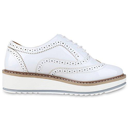 Japado - Zapatos de vestir brogues Mujer Weiss Weiss Plateau