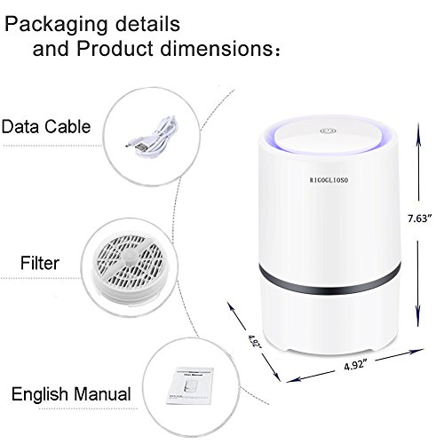 rigoglioso air purifier air cleaner for home with true hepa  u0026 active carbon filter  portable air