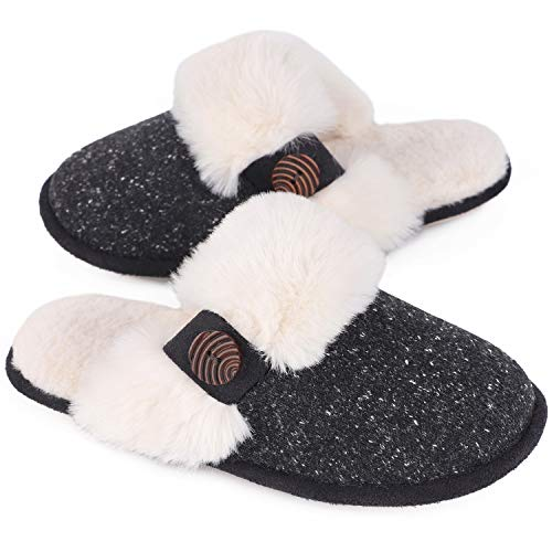 HomeTop Women's Cute Comfy Fuzzy Knitted Memory Foam Slip On House Slippers Indoor (9-10 M US, Black)