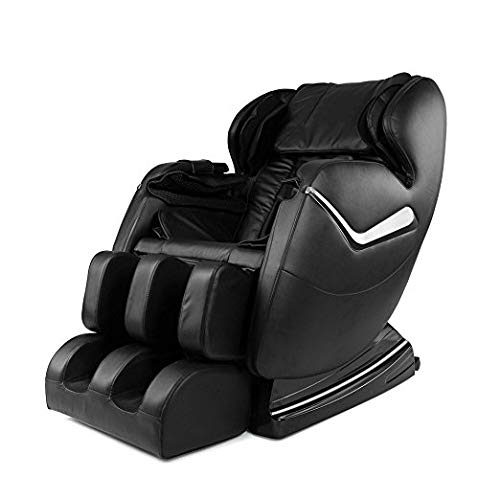 Real Relax Full Body Zero Gravity Affordable Shiatsu Electric Massage Chair with Armrest Linkage System, Heat and Foot Roller, Black (Deluxe Nfl Leather)