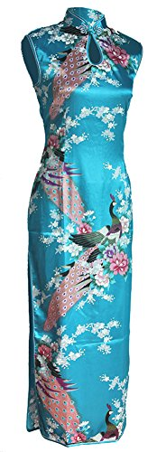 7Fairy Women's Silk Turquoise Keyhole Peacock Long Chinese Dress Size 8 US (Chinese Dresses Chinese Dress)