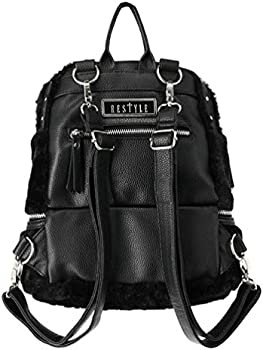 Restyle Moon Child Gothic Crescent Moon Faux Fur Vegan Leather Backpack