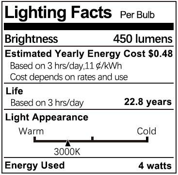 DiCUNO G8 4W Flat Base Bi-Pin LED Bulb, 40W Halogen Equivalent, 450LM, Warm White 3000K, Non-dimmable Replacement Bulb for Under Counter Kitchen Lighting, Under-Cabinet Light and Puck Light, 6-Pack