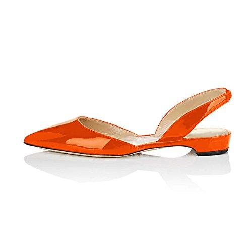 Scarpe Eleganti A Punta Smussata Xyd Sandali Con Tacco Basso Per Donna Arancione