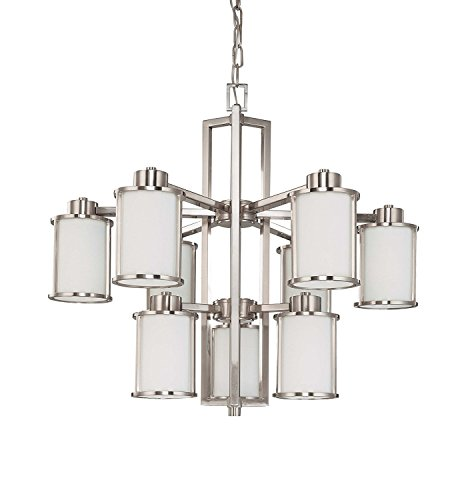 Nuvo Lighting 60 3809 Odeon 9 Light Two Tier Chandelier With Convertible Arms Up Or Down And Satin White Glass  Brushed Nickel