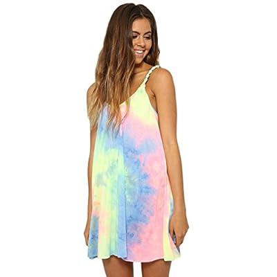 Kangma Women Sleeveless Loose Sexy Beach T-Shirt Dress