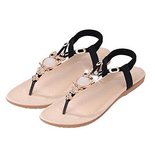 Sandalen Schuhe Luxury ANDAY Strap Schwarz T Flats Damen Owl Crystal qx8pZX