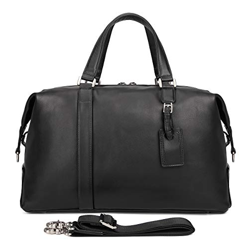 SHINING KIDS Luggage Bag Genuine Leather Casual Cool Travel Bag Black Classic Nappa Leather Travel Bag 18 Inch - Black Soft Nappa Leather