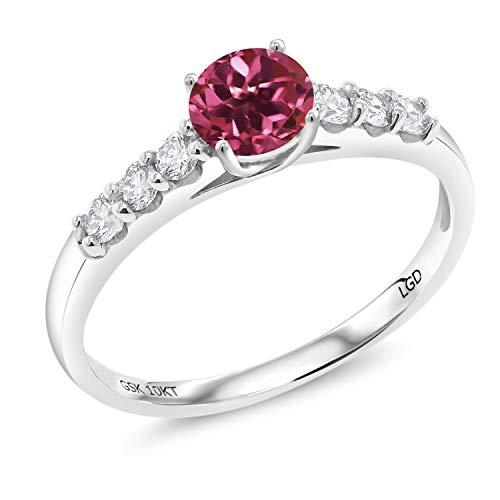 Gem Stone King 0.76 Ct Round Pink Tourmaline G-H Lab Grown Diamond 10K White Gold Ring (Size 7)