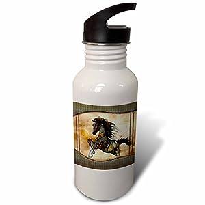 3dRose Heike Köhnen Design Steampunk – Steampunk, wonderful steampunk horse, golden design – Flip Straw 21oz Water Bottle (wb_262393_2)