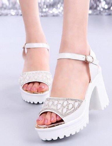 ShangYi Sandaletten für Damen Damenschuhe - Sandalen - Kleid - Kunstleder - Blockabsatz - Komfort - Blau / Rosa / Weiß Blue