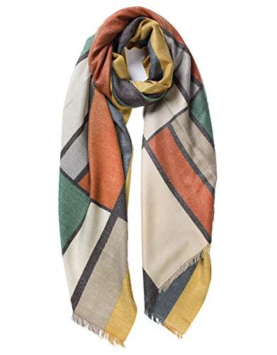 Ladies Women Italian Lagenlook Rectangle Pattern Colour Block Cashmere Knit Head Neck Winter Scarf (Mustard)