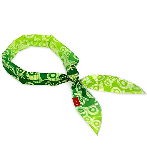 N-rit Cooling Scarf. Wrap a Soaked Tie Around Neck or Head to Instantly Chill Out. Crystal Polymer Technology Keeps Cool & Reusable. Great for Summer, Outdoor Activities & Sports. [Green Owl]