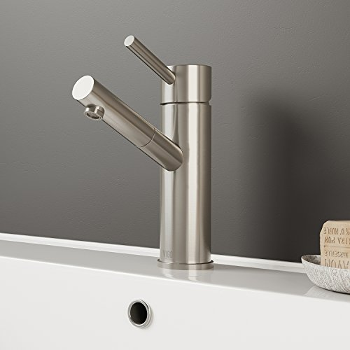 VIGO VG01009BN Noma Modern Brushed Nickel Bathroom Faucet, Single-Hole Deck-Mount Lavatory Faucet with Seven Layer Plated Finish