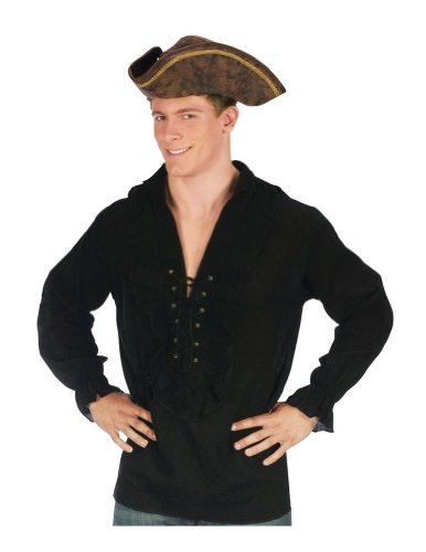 [Morris Costumes Shirt Fancy Black Pirate] (Medieval Shirt Adult Costumes)