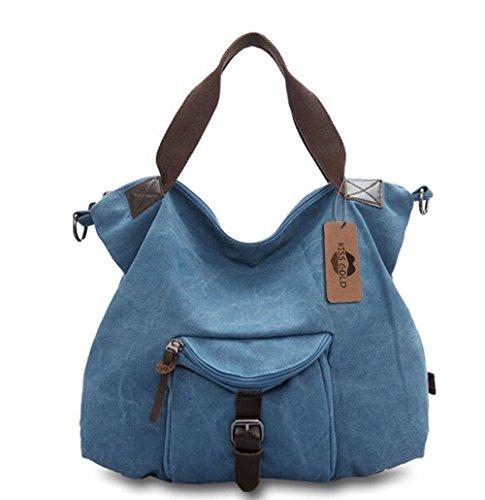 KISS GOLD(TM) Women's Vintage Canvas Tote Handbag Shoulder Bag (Blue)