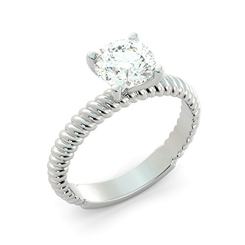 1.30 tcw Round Cut Charles & Colvard Forever One Moissanite & Natural Diamond Solitaire Cathedral Custom Engagement Ring Your choice of 14k White Rose or Yellow Gold (Tcw Natural)