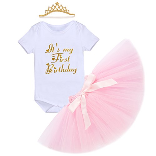 IBTOM CASTLE Baby Girls Newborn It's My 1st Birthday Cake Smash Shinny Printed Tutu Skirt+Crown Headband+Romper Sparkly Gold Outfit #3 White&Pink Skirt 12-18 (Perfectly Princess Tutu Dress)