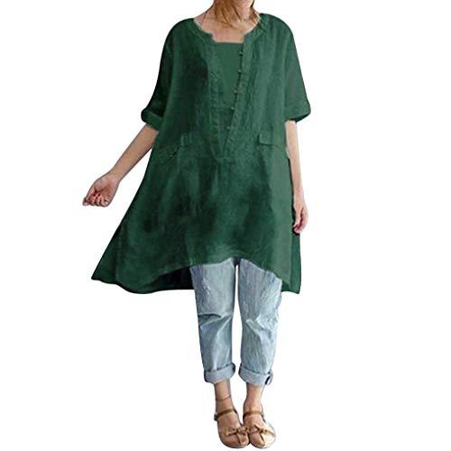 en Lin IrrGulier Manches Blouse Vrac Chemise Courtes Lenfesh Mode Femmes Grande Vert L'Automne Taille wIgq66