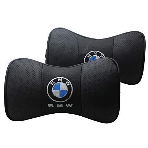 JSAMZ 2PCS Car Neck Pillow, Comfortable Soft Breathable Leather Car Head Neck Rest Cushion Relax Neck Support Headrest Pillows (fit for BMW) ()