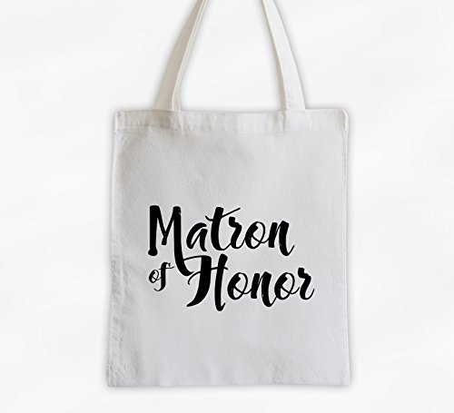 Matron of Honor Cotton Canvas Tote Bag - Brush Script Bridal Party Attendants Gift (3001-TH) ()