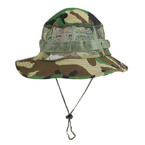 12c9bd8d5 D DOLITY Sun Hat Men Women, Outdoor Wide Brim Bucket Hat Breathable  Foldable Cap Fishing Boating Hunting Hiking Camping - Jungle Camouflage