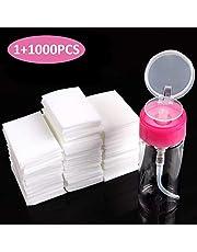 BTArtbox Gel Nail Polish Remover Set 1000PCS Lint Free Nail Wipes Cotton Pads With 1PCS Push Down Pump Dispenser Bottle for Professional Soak Off Gel Polish Remover Acrylic Nail Remover