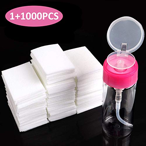 BTArtbox Gel Nail Polish Remover Set 1000PCS Lint Free Nail Wipes Cotton Pads With 1PCS Push Down Pump Dispenser Bottle for Professional Soak Off Gel Polish Remover Acrylic Nail - Remover Instant Polish Nail
