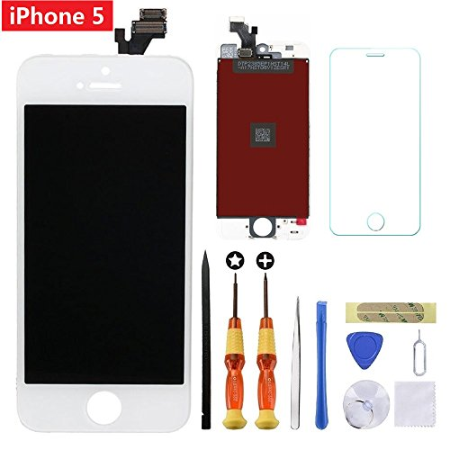 For White iPhone 5 4.0 inch Screen Replacement Retian LCD Touch Screen Digitizer Fram Assembly Full Set with Tempered Glass Screen Protector + Tools + Instructions by Brinonac
