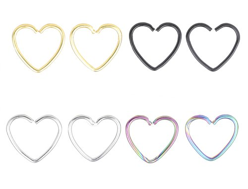 - FB 18G 316L Surgical Steel Heart Shape Earring Nose Hoop Nose Rings Cartilage Earring Body Piercing Jewelry
