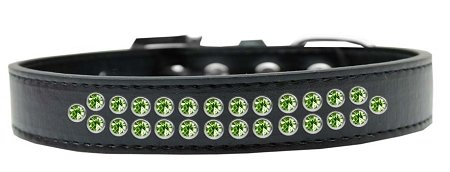 Mirage Pet Products Two Row Lime Green Crystal Black Dog Collar, Size 20 by Mirage Pet Products