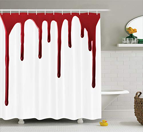 Ambesonne Horror Shower Curtain, Flowing Blood Horror Spooky Halloween Zombie Scary Help Me Phrase Themed Illustration, Cloth Fabric Bathroom Decor Set with Hooks, 75 Inches Long, Red White]()