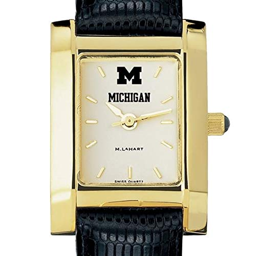 Michigan Wolverines Ladies Watch - M. LA HART Michigan Women's Gold Quad Watch with Leather Strap