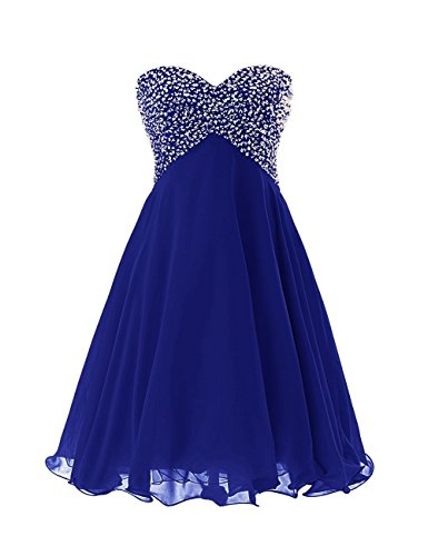 Women's Empire Sequins Short Prom Gown Strapless Chiffon Homecoming Dress Royal Blue (Empire Strapless Short)