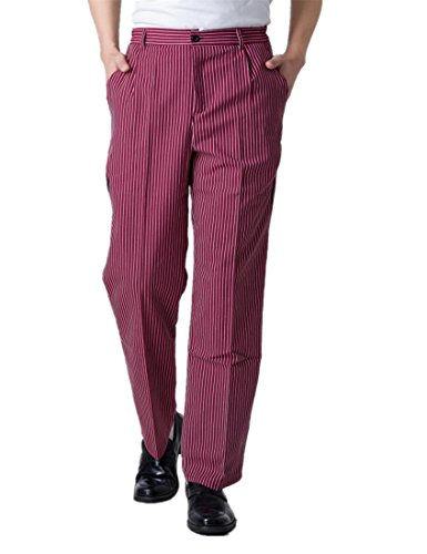 WAIWAIZUI Chef Pants Work Pant Baggy Mens Pants Red and White (US:S (Label:XL)) by WAIWAIZUI