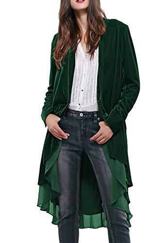 R.Vivimos Womens Ruffled Asymmetric Long Velvet Blazers Coat Casual Jackets (Small, Green)