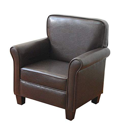 Leatherette Club Chair with Color Dark Brown Soft Bonded Leather and Rounded Arms and Back Durable and Heavy Duty Boys Armchair Unique Designed for Living Room Office