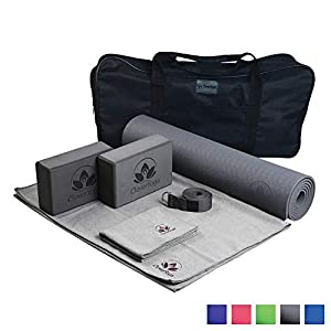 Clever Yoga Set Kit 7-Piece 1 Yoga Mat, Yoga Mat Towel, 2 Yoga Blocks, Yoga Strap, Yoga Hand Towel, Free Carry Case for…
