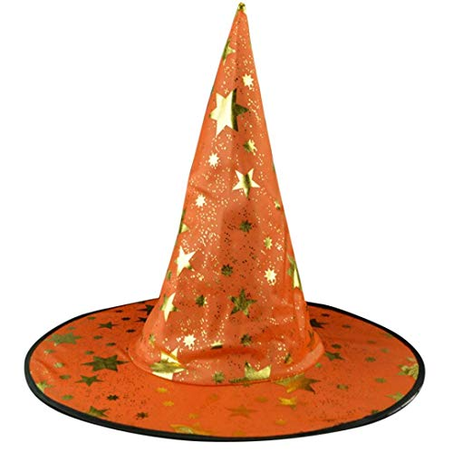 Women's Large Ruched Witch Hat Unisex Halloween Costume Accessory Stars Printed Cap Witch Hat (Orange)